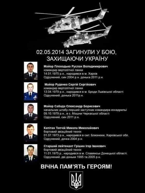 Шість років тому над Слов'янськом терористи збили два українські вертольоти Мі-24. Згадаємо загиблих героїв, фото-1