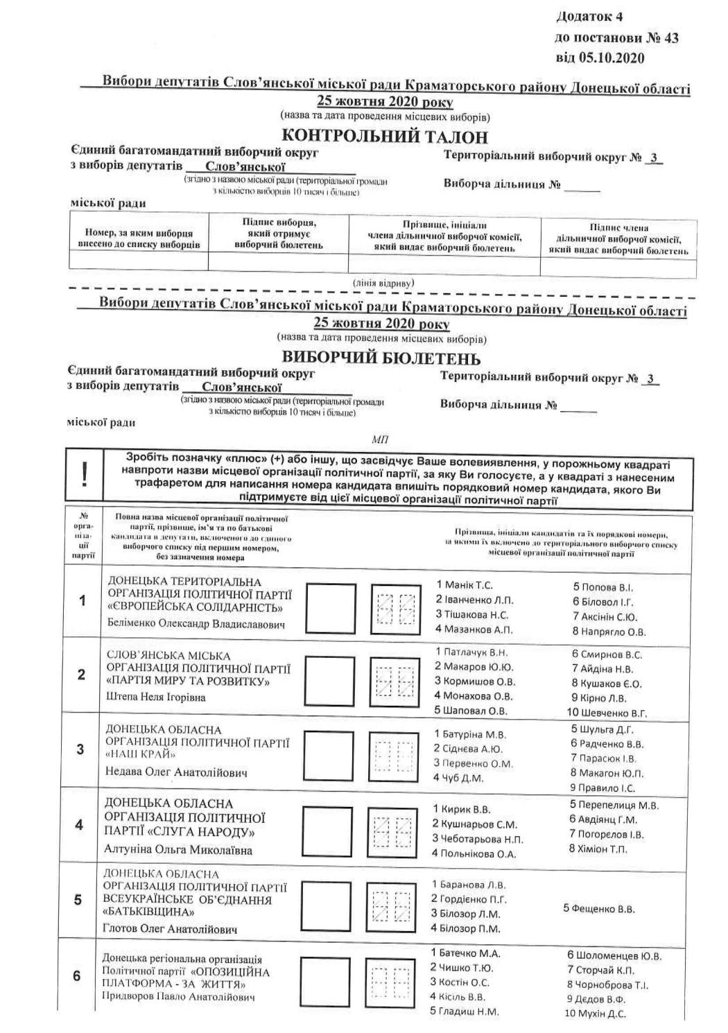 Хто і де буде балотуватися у Слов'янську. Перелік округів, кандидатів та бюлетені, фото-3