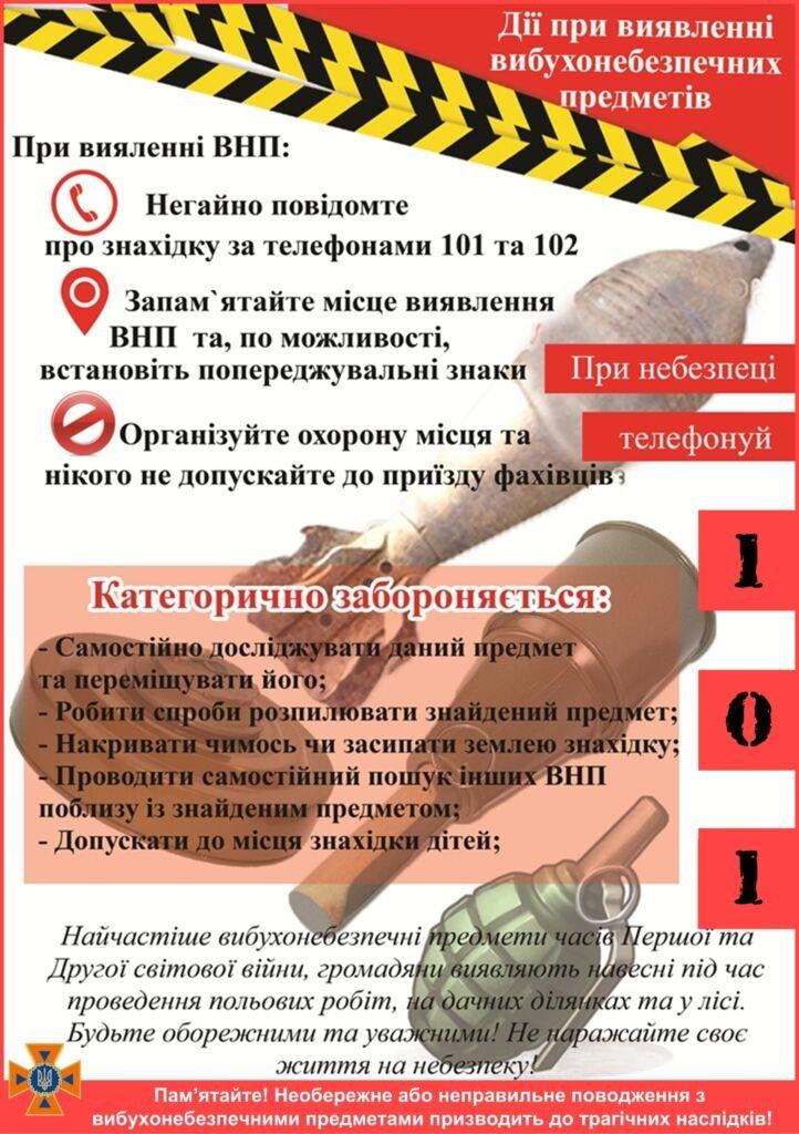 Що робити при виявлені вибухонебезпечних предметів, фото-1
